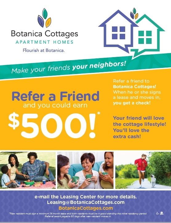 referral bonus botanica cottages luxury apartments limerick pa